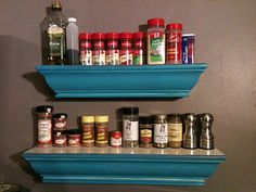 Repurposed shelves for a spice rack. Way easy.