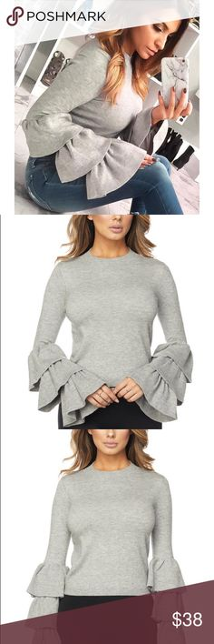 Bell sleeve tiered sweater top Stay chic and cozy in this superb quality mock neck sweater top featuring tiered bell long sleeves. 45% Viscose 27% Nylon 28% Polyester  Follow us on Instagram/ modas_inc Hera Collection Sweaters Crew & Scoop Necks