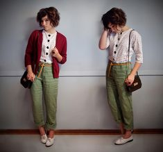 Button Front Polka Dot Top, Leather Belt, High Waisted Linen Pants, Red Cardigan, Vintage Bag, Lace Up Brogues