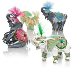 """""""Elephants Of Good Fortune"""" Figurine Collection Good fortune shines on in elephant figurine collection with upturned trunks; Elephant Ears, Elephant Figurines, Elephant Stuff, Elephant Gifts, Good Fortune, Collectible Figurines, Displaying Collections, Beautiful Butterflies, Ancient Art"""