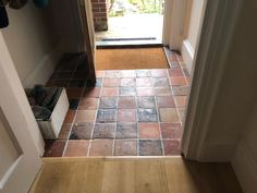 A warm and rustic porch floor - the antiqued blanc rose terracotta is the perfect compliment to the warm oak floor Limestone Tile, Porch Flooring, Natural Stone Flooring, Marble Stones, Flagstone, Terracotta, Slate, Natural Stones, Tile Floor