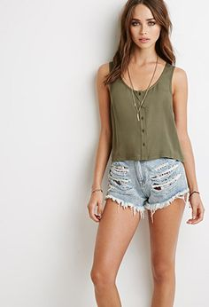 Buttoned Front Tank | Forever 21 - 2049257429