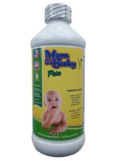 Mom  Baby Prenatal MultiVitamin Liquid Supplement 800mcg Folate NonConstipating Iron Certified Organic WholeFood Blend Best for PreConception IVF Pregnancy  Postnatal Vegetarian Non GMO ** Continue to the product at the image link.