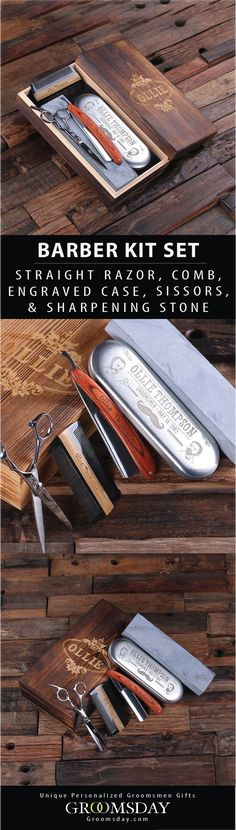 This is an amazing barber grooming set! Vintage with old world charm, the set consists of a sharpening stone, barber style razor (ready to use!), scissors, and comb packaged inside a beautiful wood gift box. Everything shown can be engraved, apart from the scissors. Be sure to repin and follow for more unique groomsmen gifts || Groomsday.com