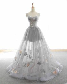 long prom dresses - Cute Tulle Lace Prom Dress, Long Evening Gowns,Gray Tulle Sparkly Long Customize Prom Dress, Animals Embroidery Applique , Floor Length Evening Dress New Fashion Cute Dresses For Party, Pretty Prom Dresses, Ball Dresses, Elegant Dresses, Homecoming Dresses, Formal Dresses, Party Dress, Dress Prom, Party Gowns