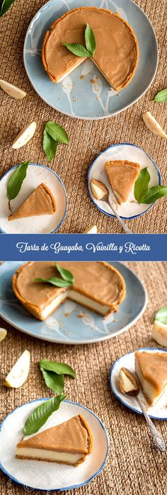 Receta Tarta de Ricotta, Vainilla y Guayaba: Un postro con sabores muy delicados, la guayaba se lleva a la perfección con la vainilla y la ricotta.