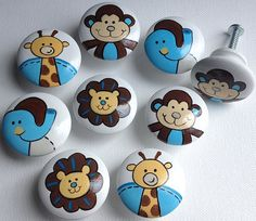 Zoo Fun Drawer Pulls / Dresser Knobs / Closet Handles / Hand Painted for Boys, Girls, Kids, Nursery Rooms