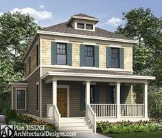 most 20 House Architecture Masterplan Big Front Porches, Front Porch Design, Small Porches, Square House Plans, House Floor Plans, Architectural Design House Plans, Architecture Design, Pass Through Window, Four Square Homes