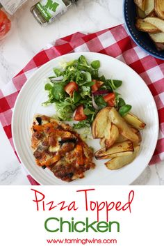 Pizza topped chicken - Chicken breasts topped with pizza toppings and mozzarella…