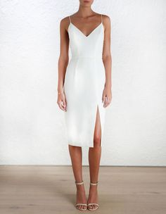 Crepe Harness Midi Dress