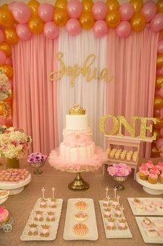 First birthday girl party ideas princess ideas Pink Princess Party, Princess Birthday Party Decorations, Princess First Birthday, Pink And Gold Birthday Party, 1st Birthday Party For Girls, Birthday Parties, Princess Sophia, Princess Theme Cake, Birthday Ideas