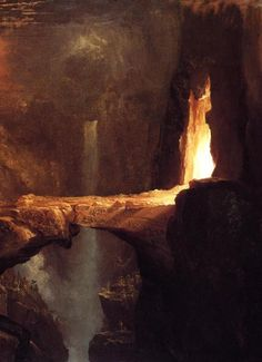 Thomas Cole: Moon and Firelight, c 1828 oil on canvas 91x122 at the Thyssen Bornemisza Museum. (detail)