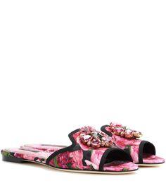 DOLCE & GABBANA Bianca embellished slip-on sandals. #dolcegabbana #shoes #sandals