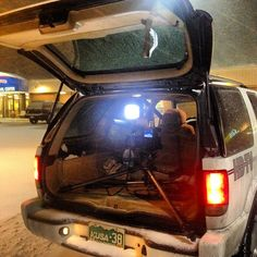 Setting up a live shot in Limon, CO during a snow storm. Put it in the back of the news vehicle so it wouldn't topple over.
