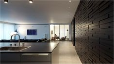 When architecture meets fashion InspireFirst. I love the black wall. Minimal Architecture, Architecture Design, Home Living Room, Living Spaces, Expensive Houses, Fireplace Wall, My Dream Home, Dream Homes, A Boutique