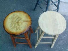 Custom Woodburned Bar Stools