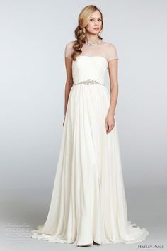 hayley paige spring 2013 anya sheath wedding dress draped tulle crystal collar neckline hp6300