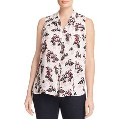 Vince Camuto Plus Pleat Front Top (5,555 INR) ❤ liked on Polyvore featuring plus size women's fashion, plus size clothing, plus size tops, flora pink, plus size, vince camuto, women's plus size tops, pink top and vince camuto tops