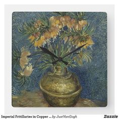 2579d720bc9 Imperial Fritillaries in Copper Vase by Van Gogh Square Wall Clock Vincent  Van Gogh