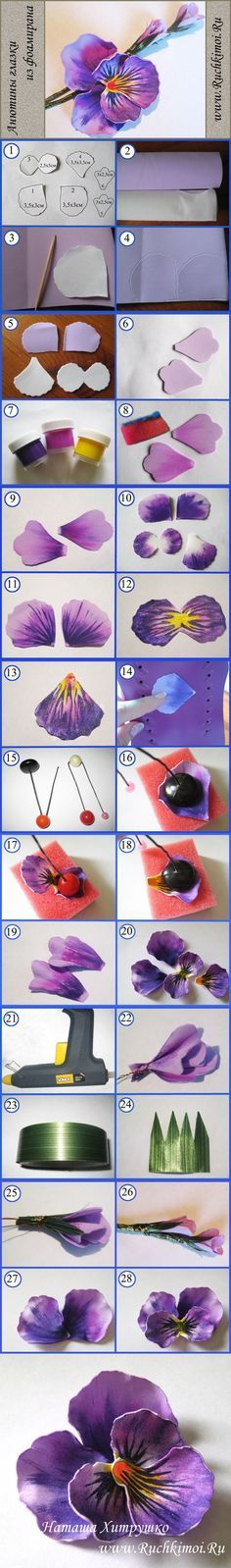 Discover thousands of images about Fabric flower tutorial that would work well with watercolor paper as well. Polymer Clay Flowers, Polymer Clay Crafts, Diy Clay, Crepe Paper Flowers, Fabric Flowers, Handmade Flowers, Diy Flowers, Flower Diy, Foam Crafts