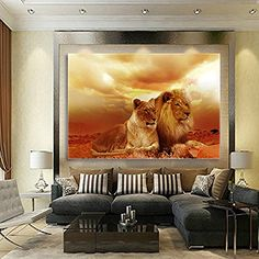 Global Artwork Printed Posters and Prints Animal Lions Paintings Picture Wall Art on Canvas for Living Room Home Decor or Hotel Stretched Ready to Hang Yellow (16 x 20 inches)