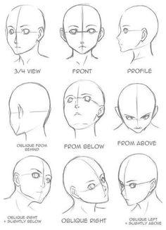 Gesicht zeichnen, aus verschiedenen Blickwinkeln, Anime Mädchen zeichnen, schwarz und weiß, B… - アートブログ 2020 Anime Girl Drawings, Art Drawings Sketches, Easy Drawings, Sketch Drawing, Pencil Drawings, Pencil Art, Disney Drawings, Drawing Art, Girl Face Drawing
