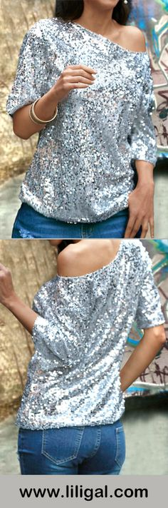 Skew Neck Sequins Embellished Silver T Shirt #top #christmas #christmasgifts #womensfashion #shopping #fall #winter #liligal