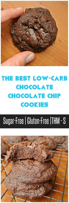 Best Recipes: The Best Low-Carb Chocolate Chocolate Chip Cookies Sugar Free Desserts, Sugar Free Recipes, Low Carb Recipes, Keto Desserts, Cookies Sans Gluten, Keto Cookies, Meringue Cookies, Low Carb Deserts, Healthy Sweets