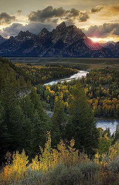 Snake River and Grand Teton at Sunset, Wyoming