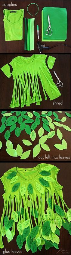 No-Sew Leaf Girl Halloween Costume. Turn an old green T-shirt into a beautiful piece of garment with felt leaves.