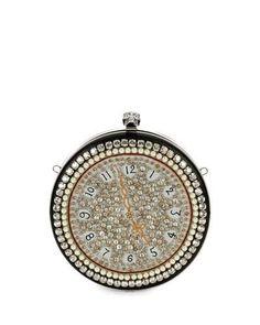 ALEXANDER MCQUEEN Pocket Watch Skull Clutch Bag, Multi. #alexandermcqueen #bags #leather #clutch #shoulder bags #crystal #lining #hand bags #