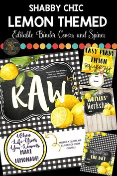 "Live your ""ZEST"" life and keep your classroom organized throughout the school year with these editable lemon themed binder covers and spines.  Choose from the already programmed binder covers or create your own to personalize them to suit the needs of your classroom and students!  Click HERE to check them out! #lemonclassroomideas #bindercovers #lemons #classroomorganization #backtoschool #classroommanagement #education #mrsaverysisland #shabbychic #classroomdecor #lemonthemeclassroomideas"
