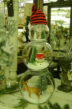 DIY crafts fishbowl snowmen Would any of my Christmas village pieces fit in the bowls? Worth a try this Christmas!