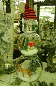 DIY crafts fishbowl snowmen
