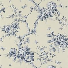 The wallpaper Ashfield Floral Delft - from Ralph Lauren is wallpaper with the dimensions m x m. The wallpaper Ashfield Floral Delft - Textured Wallpaper, Black Wallpaper, Wall Wallpaper, Blue Floral Wallpaper, Beautiful Wallpaper, Bedroom Wallpaper, Wallpaper Ideas, Delft, Paper Wallpaper