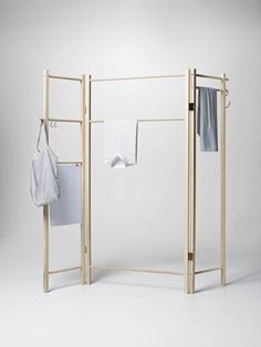 daraus wird ein Raumteiler mit Stoff drapiert bei Bedarf Check out the 360 Degrees Foldable Garment Rack in Domestic Science, Ironing Boards & Laundry Care from Nomess Copenhagen for . Portable Clothes Rack, Clothes Drying Racks, Wooden Clothes Rack, Hanging Clothes, Diy Furniture, Furniture Design, Furniture Plans, Furniture Cleaning, Garment Racks