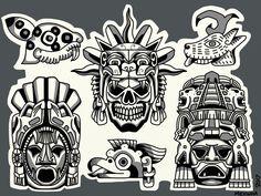 Mayan Tattoos, Mexican Art Tattoos, Chicano Drawings, Chicano Art, Aztec Tattoos Sleeve, Aztec Warrior Tattoo, Cupid Tattoo, Tree Sleeve, Aztec Symbols