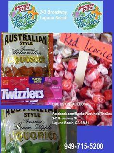 Some licorice enthusiasts are experimental.... LIKE US ON FACEBOOK: Facebook.com/RocketFizzUnderTheSea Visit us: 243 Broadway Street Laguna Beach, CA 92651 949-715-5200