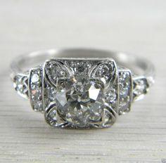 Platinum 1920s Art Deco Filigree * GIA Certified * 1.11 tcw Diamond Ring AN-D88