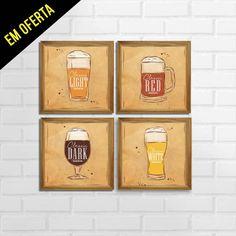 Conjunto de Quadro Decorativo Tipos de Cerveja