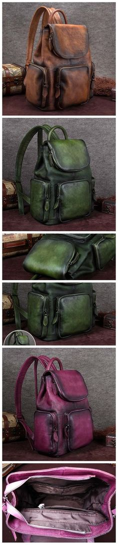 Handmade Full Grain Leather Backpack, Vintage Travel Shoulder Bag A0119