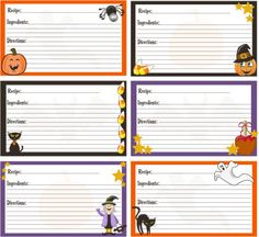 Halloween recipe cards 4x6