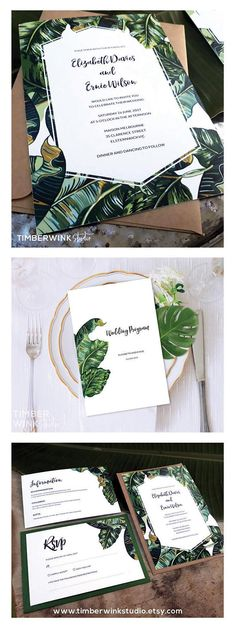 Tropical Love! This #bananaleaf #weddinginvitation suite comprises of the entire #wedding #stationery & high resolution #printable #templates for all the items you will require for a perfect #tropical wedding. For more of our BEAUTIFUL collection, visit www.timberwinkstudio.etsy.com