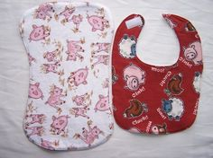 Bib and burp cloth set  farm animal print by EverSewSweet on Etsy