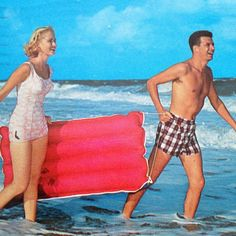Vintage color postcard of a US beach scene, featuring a male and female model about to catch the surf on their inflatable raft. Sent from Daytona Beach, so most probably set in Florida.