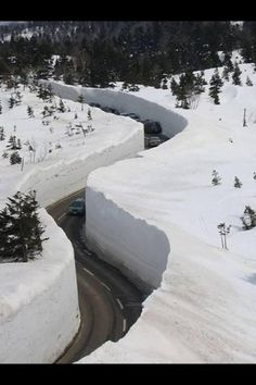 """The Tateyama Kurobe Alpine (pronounced """"Alpen"""") Route, known as the """"Roof of Japan"""", passes through the dynamic scenery of Mt. Tateyama in the Japan Alps. Snow Scenes, Winter Scenes, Beautiful World, Beautiful Places, Beautiful Roads, Meanwhile In Canada, Stations De Ski, Snow And Ice, Winter Beauty"""