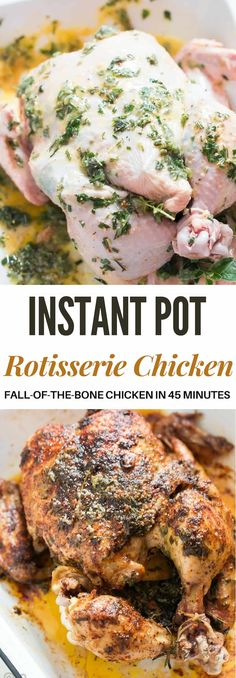 Pressure Cooker Whole Chicken Rotisserie Style (Instant Pot) Pressure cooker whole chicken makes perfectly juicy and tender chicken in less than 45 minutes. This is by far the most succulent, tender, fall-of-the-bone chicken you'll ever make. You won't be Oven Roasted Whole Chicken, Stuffed Whole Chicken, Thanksgiving Dinner Recipes, Instant Pot Dinner Recipes, Recipes Dinner, Instant Recipes, Thanksgiving Chicken, Instant Pot Pressure Cooker, Pressure Cooker Recipes