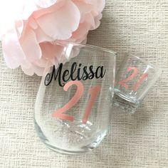 21st Birthday Glass, Birthday Wine Glasses, Birthday Gifts For Her, Happy Birthday, Birthday Greetings, Birthday Sayings, Birthday Brunch, 22nd Birthday, Birthday Weekend
