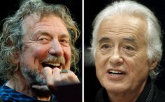 "Lead singer Robert Plant (L) and guitarist Jimmy Page of the British rock band Led Zeppelin are shown in these October 9, 2012 and July 21, 2015 combination file photos in New York and Toronto. The Led Zeppelin founders must face a U.S. jury trial over whether they stole opening chords for their 1971 classic ""Stairway to Heaven."" The trial is scheduled May 10, 2016."