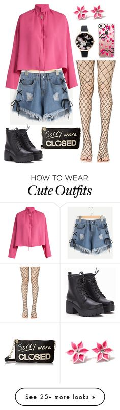 """""""Cute outfit"""" by sarahlong3019 on Polyvore featuring Leg Avenue, Balenciaga, Betsey Johnson, Olivia Burton and Casetify"""
